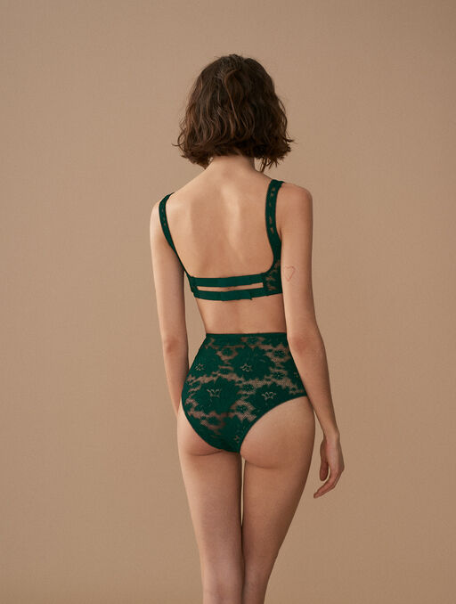 Culotte taille haute teal green.